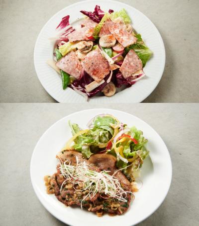 8品目の旬野菜とパストラミのサラダ・八幡平ポークソテー 8種の香味野菜入りソース