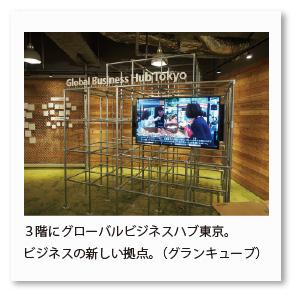 3階にグローバルビジネスハブ東京。 ビジネスの新しい拠点。(グランキューブ)