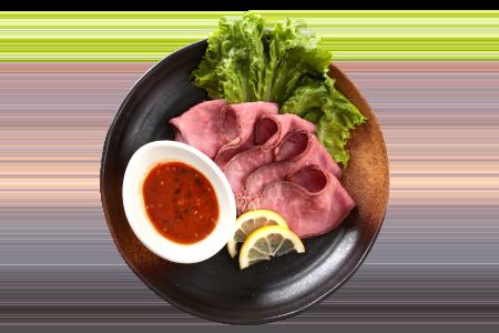 ソバキチ「ローストビーフ 青唐からし味噌」