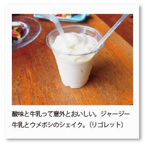 酸味と牛乳って意外とおいしい。ジャージー 牛乳とウメボシのシェイク。(リゴレット)