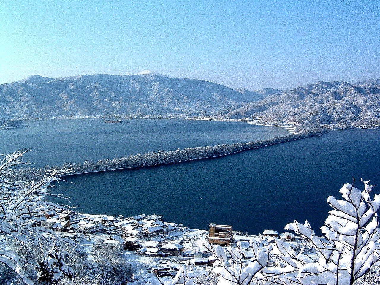 「天橋立」 昇龍観 雪
